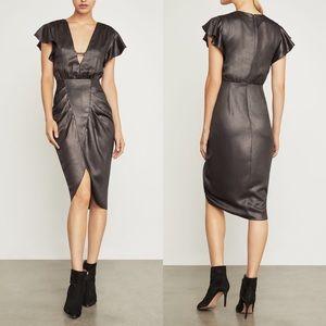 BCBGMAXAZRIA Metallic Sheath Front Keyhole Dress